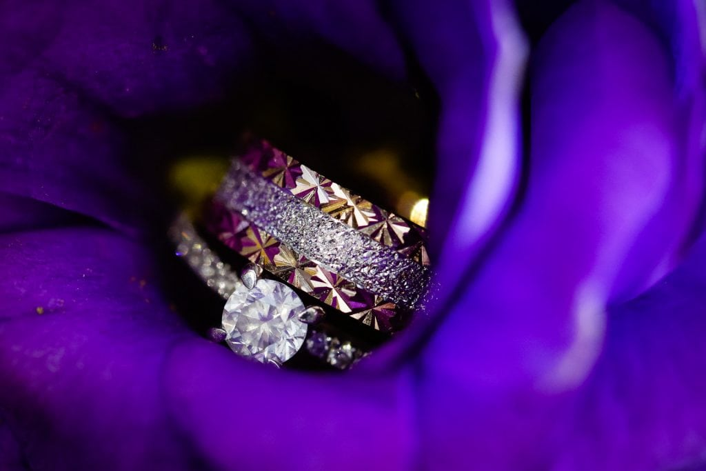 Wedding rings inside a flower
