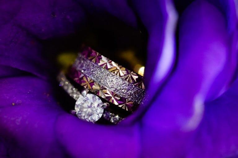 Wedding rings inside a flower