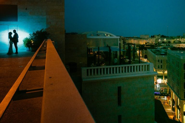 A couple silhouette at the Mamilla Jerusalem hotel