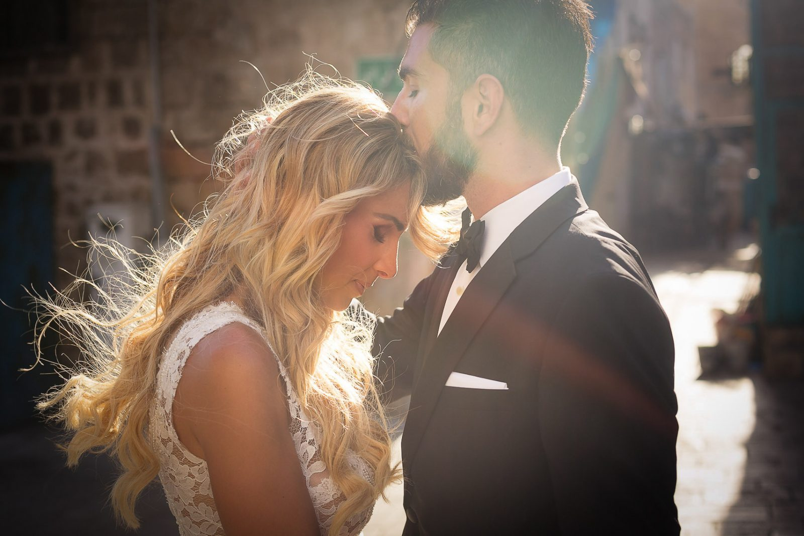 Romantic wedding Israeli couple portrait