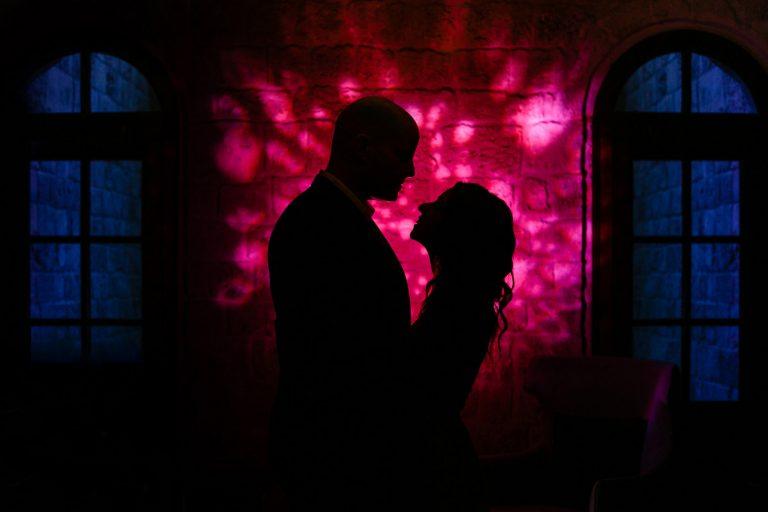 Couple wedding silhouette at The Setai hotel in Tel Aviv