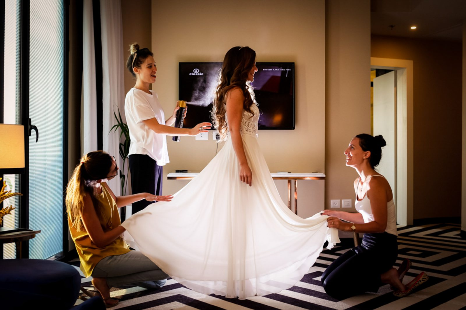 Bride getting ready at Tel Aviv Brown Hotel