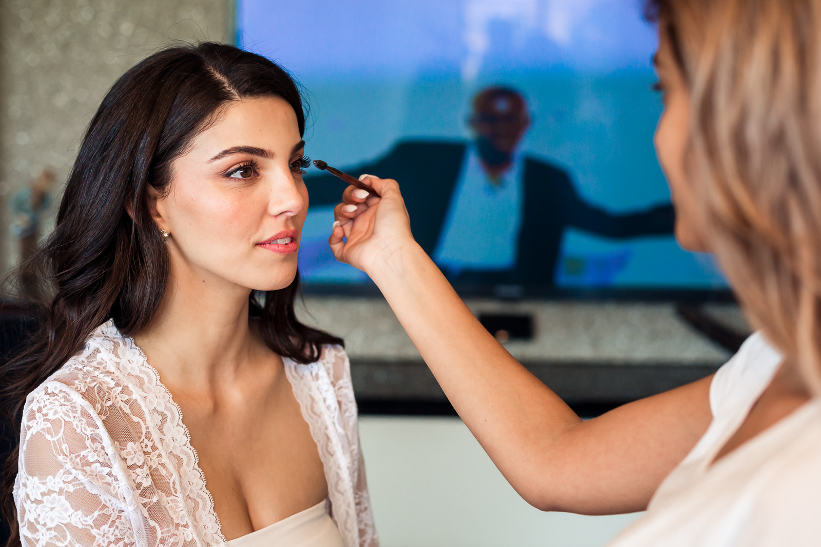 a beautiful bride bride at her make up preperations