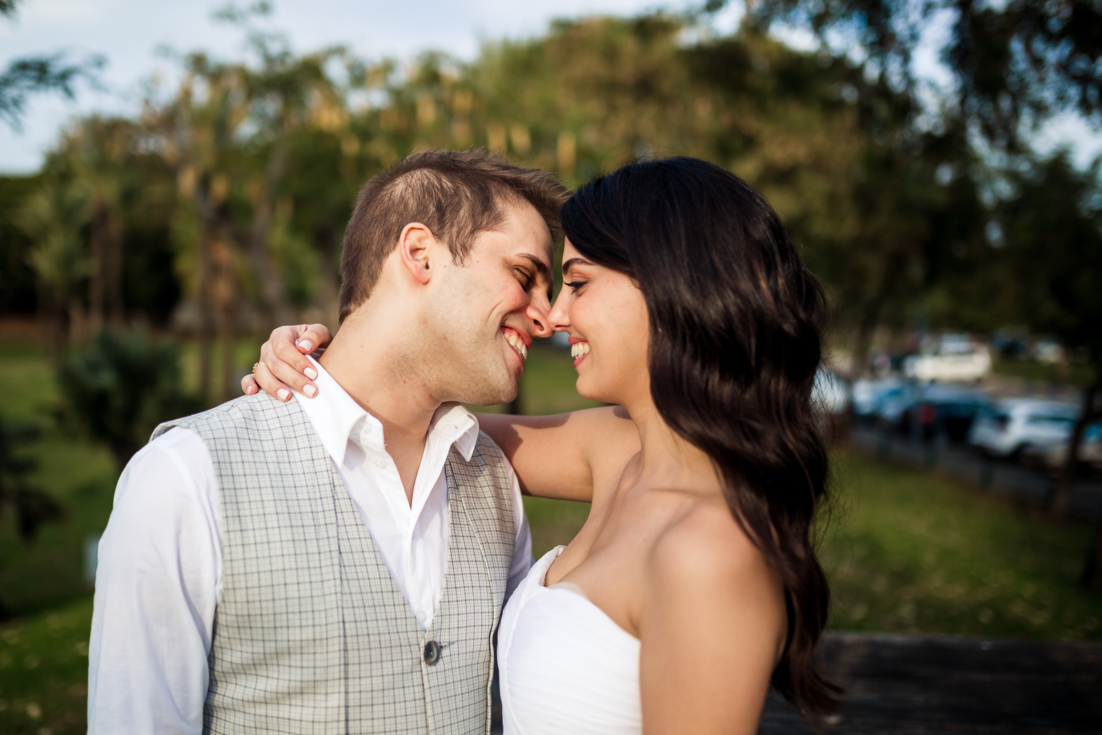 lovely Jewish couple wedding portrait in the park
